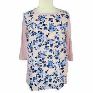 Lane Bryant Semi Sheer Light Pink & Blue Floral Print Long Sleeve Scoop Neck Tee